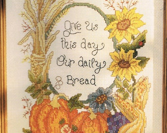 CROSS STITCH PATTERN - Give Us This Day Our Daily Bread Cross Stitch Chart - Christian Cross Stitch - Harvest Cross Stitch
