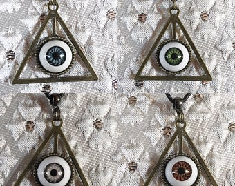 Eye Necklace, Eye Pendant, Deathly Hollows Necklace, Triangle Pendant, Deathly Hollows, Eyeball Pendant, Eyeball Jewelry, Goth Necklace, Eye