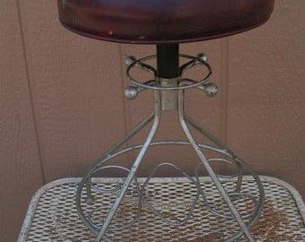 Vintage Mid Century Drafting Factory Machinest Workshop Stool 360 Swivel Adjustable Leather Seat Retro Chair