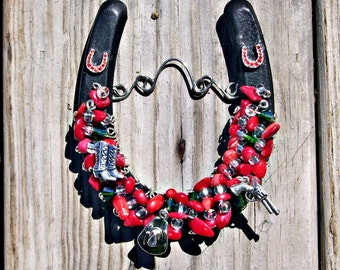 Good Luck Horseshoe, Silver Western Charms, Western Horseshoe Ornament, Red Coral Ornament, Horse lovers Gift