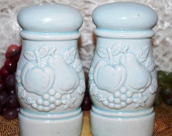 Japan Marked Light Blue Ceramic W/Embossed Fruit 2 Pc Salt & Pepper Shaker Set