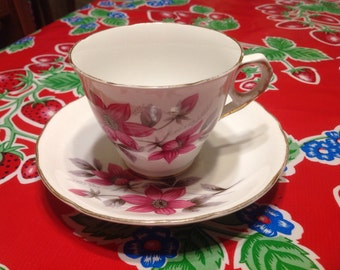Vintage Royal Kent Fine Bone  China tea cup and saucer with floral designs- England