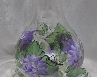 """3 pc., 10"""" Fluted edge shade candle holder, purple lilacs"""