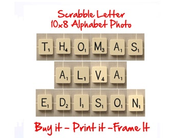 Scrabble Any Name 10x8 Printable - Personalized Alphabet Photo Wall Art Download