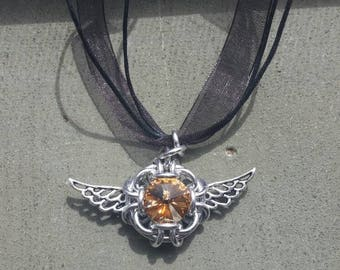 Golden snitch, Harry Potter themed chainmaile pendant with cord