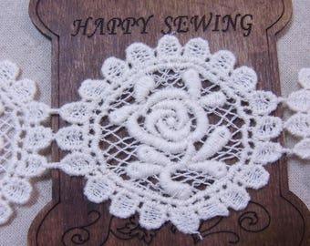 Rose Motive lace Crochet Cotton Lovely Lace 1yard  mj
