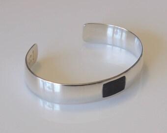 Silver Cuff Bracelet, Oxidized Sterling Silver Bracelet, Geometric Cuff Bracelet, Men's Cuff, Women's Bracelet, Modern Artisan Jewelry