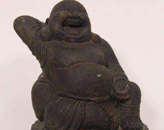 "7"" Vintage Smiling Laughing Buddha Statue Figurine, Black Plaster Chalkware"