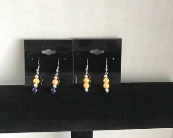 Earrings - Yellow and Purple