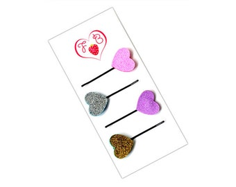 Hair clips, 4 glitter heart hair clips, hair clips for girls, cute hair clips, glitter hair clips