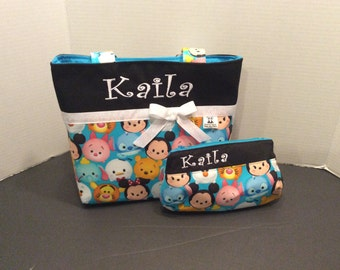 Personalized Diaper bag, tote bag, made with Ysum Tsum print fabric
