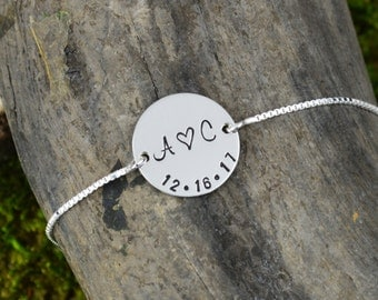 Personalized Bar Bracelet with Initials and Wedding Date // Wedding Gift  // Handstamped Jewelry