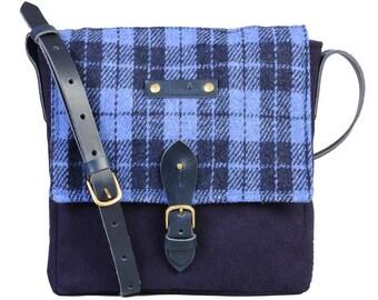 Orkney satchel - Blue Harris Tweed check