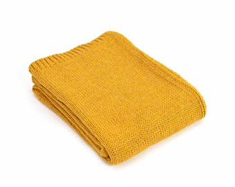 Yellow Throw Blanket, Alpaca Wool, Sofa Throw, Yellow Bed Throw, Yellow Wool