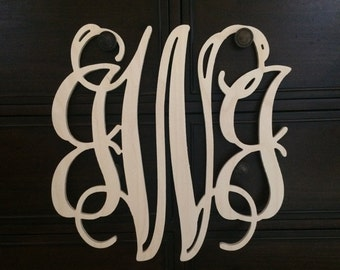 Wooden Letters, Wooden Monogram, 24 Inch Tall, Home Decor, Wooden Monogram Initials, Wooden Script Monogram,Wedding Decor