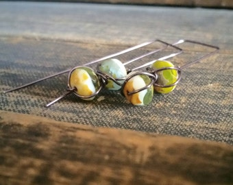 Copper long dangle earrings | Green, white, aqua, yellow and amber earrings | Earthy Organic Neutral Earrings | Earthy Jewelry