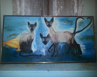 SALE! Vintage 1965 Siamese Cat Painting