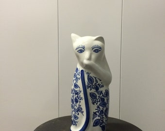 Blue and White Porcelain Cat