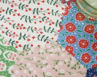 "Laminated cotton fabric by the yards 44"" wide cozy Hexagon patch laceking2013"