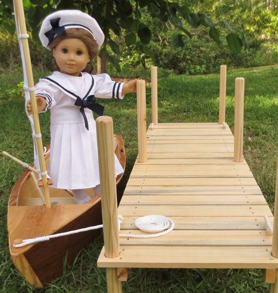 Doll BOAT and DOCK Handcrafted for 18 Inch dolls such as American Girl® Heirloom Skiff Sailboat and Wood Dock