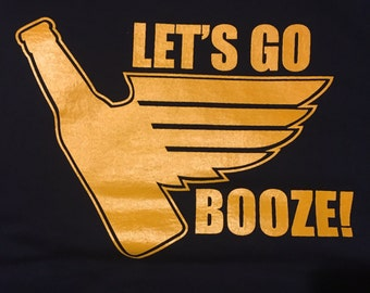 LET'S Go BOOZE LONG Sleeve T-shirt (Navy)