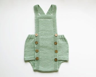 HUGO Mint Baby Romper, Knitted Cotton Baby Romper, Natural Baby Cloth, Made to Order