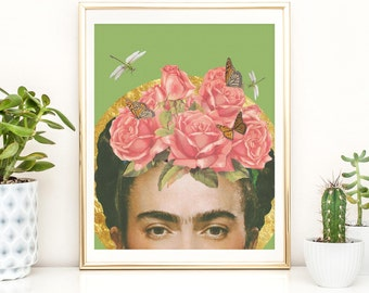Frida Kahlo print - Flower collage art poster - Colour Greenery