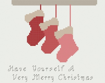 Christmas Stockings Cross Stitch Pattern PDF ** Instant Download **