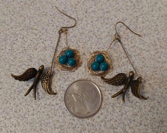 Bird's nest earings, blue eggs, sparrow