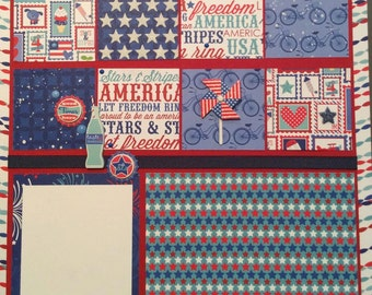Americana Pre-made scrapbook page