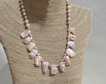 Peachy Pink Keishi Pearl Necklace and Earrings Set