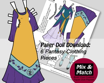 Paper Doll Medieval Fantasy Princess Dresses- Mix & Match Digital Paper Doll Coloring Page- Printable Paper Doll Clothing Set- Dress Up Doll
