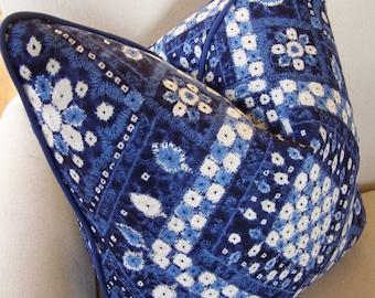 CUSTOM PIPING,  Iman Designer Blue Diamond Pillow with Navy Piping, Decorative Pillows, Designer Pillows, Lumbar Pillows, Blue Ikat Pillows