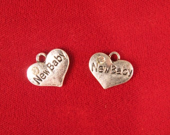 """BULK! 15pc """"New Baby"""" charms in antique silver style (BC534B)"""