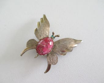 Vintage Butterfly Brooch Pin Pink Red Lucite Cabochon Body Goldtone Retro  Free Shipping