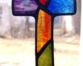 Stained Glass Cross Suncatcher - Multi colored