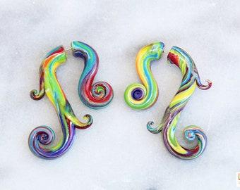 Rainbow Tie Dye Swirly Fake Gauge Earrings, rainbow fake gauges, tie dye fake gauges, tie-dye fake gauges