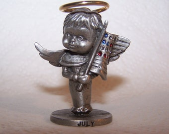 L'il Angels Pewter, Month -- JULY -- Angel, Angel Wings, Birth Month, Holiday Art, Genuine Fine Pewter, Cathedral Since 1920
