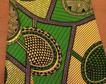 African Wax Cotton Print Fabric - African wax print summer fabric mustard yellow, grey Fabric - Ankara Fabric - One Yard