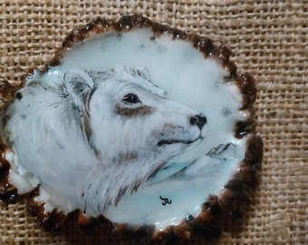 """Antler Belt Buckle with a hand painted Polar Bear with icy background (original) on a genuine 3-1/4"""" wide elk antler rosette, antler art"""