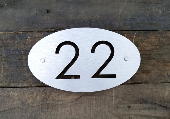 Brushed metal address plaque modern house numbers oval size for Modern house numbers canada