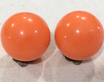 Vintage Tangerine Orange Plastic Ball Western German Clip On Earrings