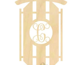 Sled shape with Monogram Insert - Door Hanger, Home Decoration, Wreath