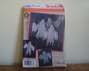 Simplicity 2486, Fancy Dress Ghost Ghoul Pattern, Halloween Party, Factory Folded