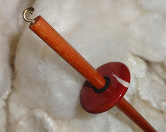 Mookaite stone whorl light-weight top whorl spindle with a brass hook