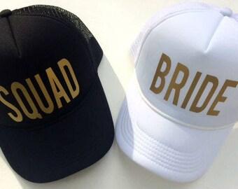 Squad Bachelorette party hats, bride squad hats, bride hat, squad hat, bachelorette hats, bride trucker hat, bridal party hat