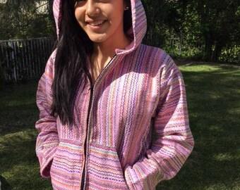 Mexican hoodie,XXL, hooded jacket, zip up ,hoodie,pink,green,Peppermint pink,candy stripe,stripe,XLarge,baja hoodie