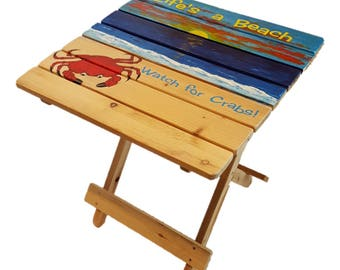 Outdoor Folding Table - Life's a Beach- Watch for Crabs - Adirondack Table - Summer Furniture - Beach Table - Patio Table