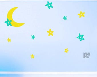 Moon Decal. Stars and moon. Crescent moon decals. Nursery decor. Wall sticker. Home decor decals. Bedroom Decals.