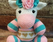 Unicorn hearts crochet stuffed animal toy plush toy plushie birthday gift Christmas present gold pink cute toddler baby shower gift custom
